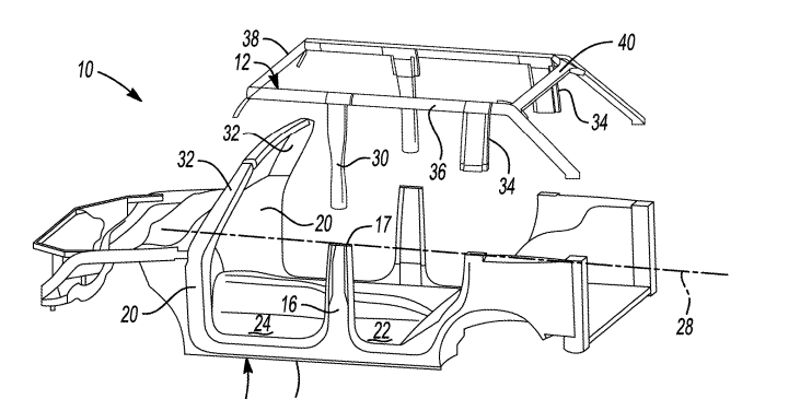 2021 Ford Bronco removable roof structure patent.png