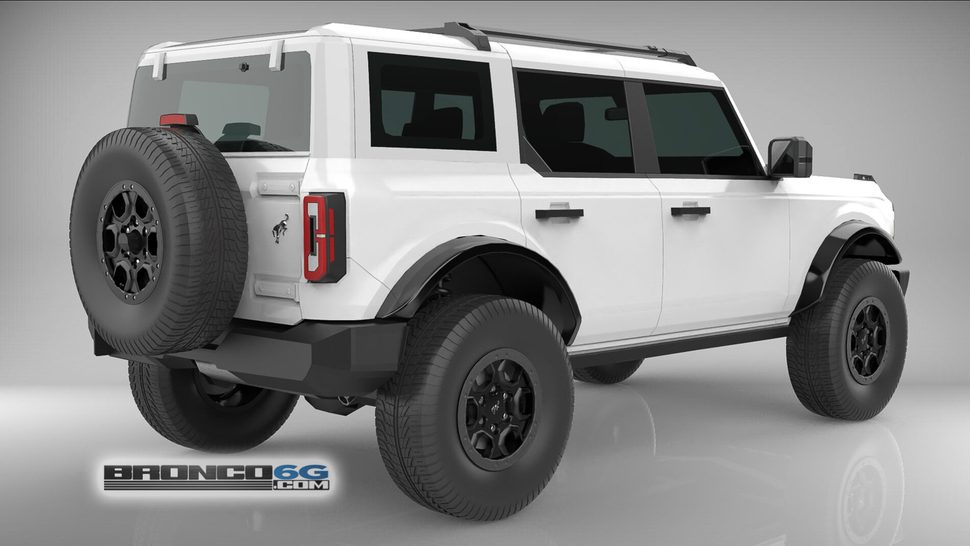 4 Door 2021 Bronco White Roof 3D Model Rear.jpg