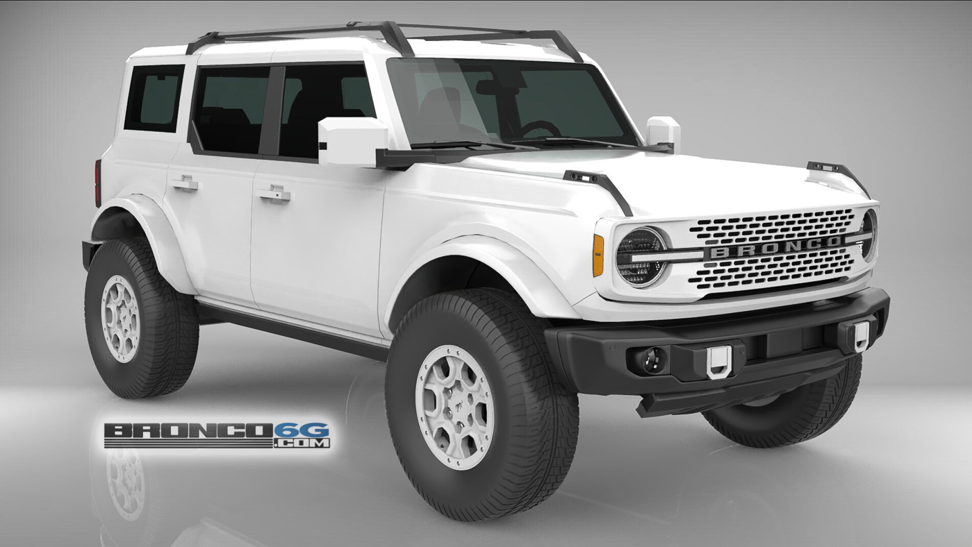 All White Monochromatic 4 Door 2021 Bronco 3D Model Front.jpg