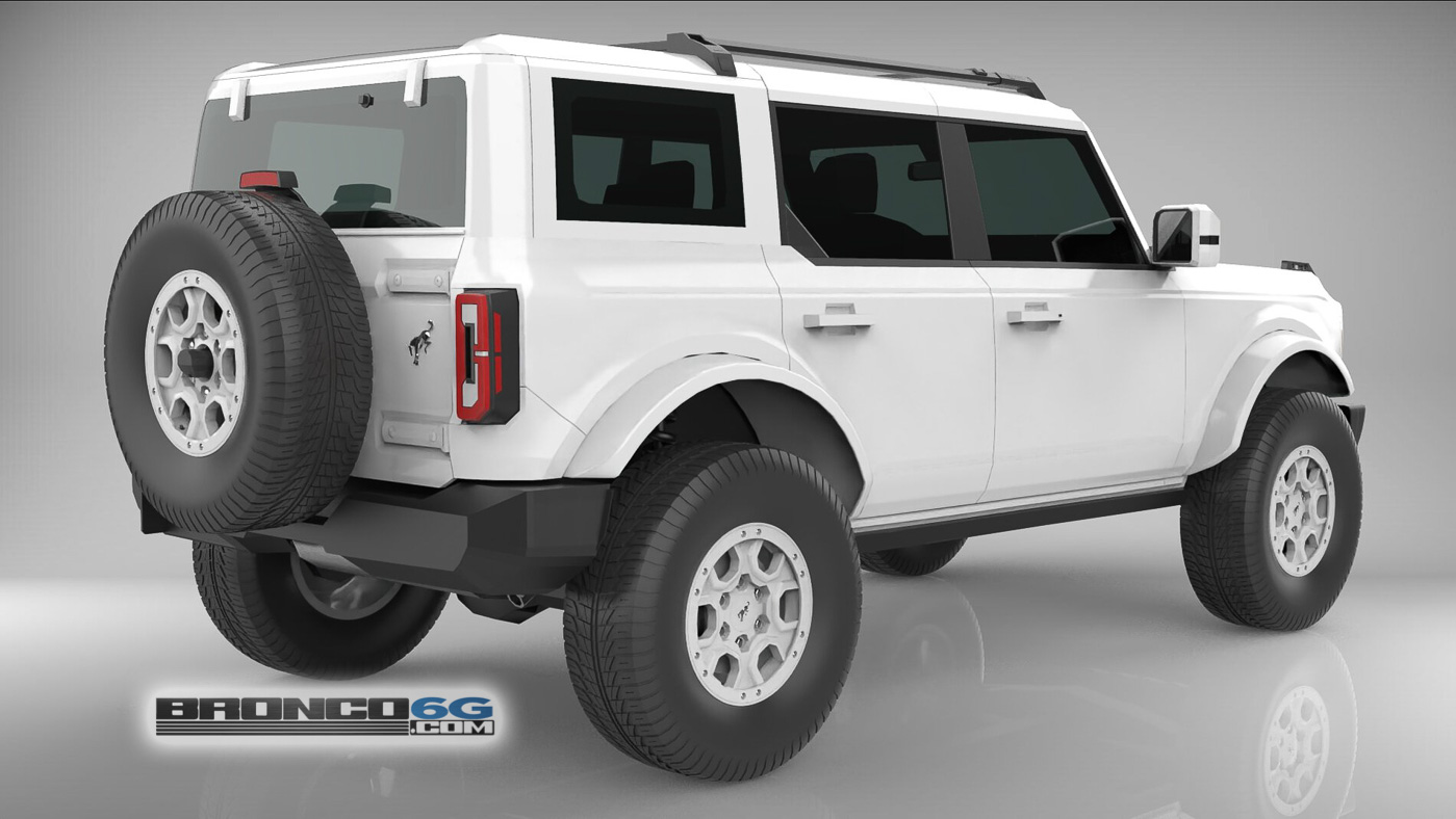 All White Monochromatic 4 Door 2021 Bronco 3D Model Rear.jpg