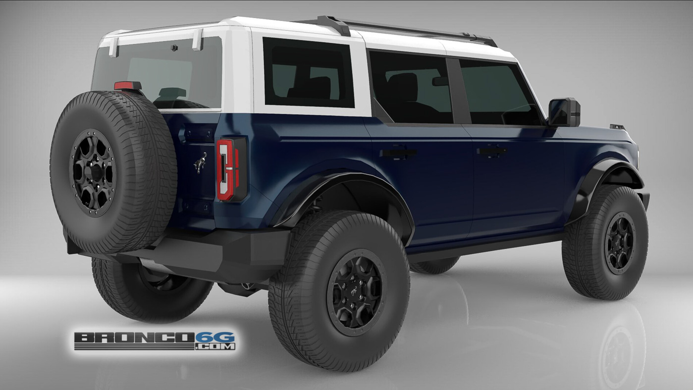 Antimatter Blue White Top 4 Door 2021 Bronco 3D Model Rear.jpg