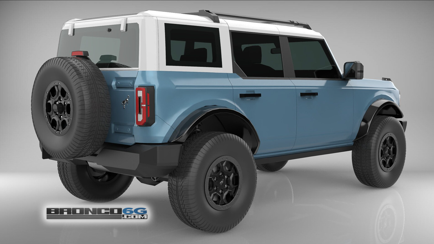 Area 51 White Top 4 Door 2021 Bronco 3D Model Rear.jpg