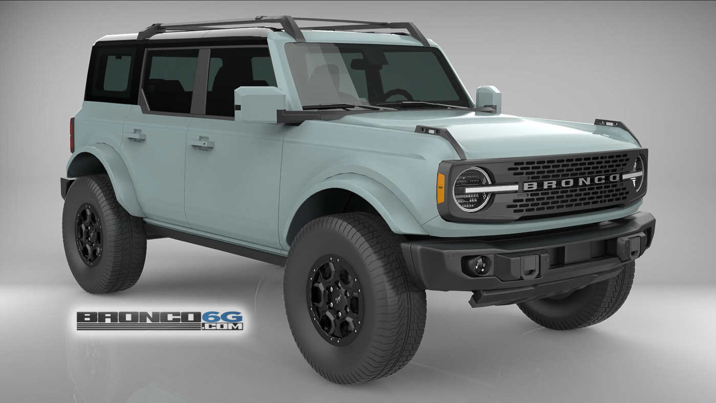 Cactus Gray Black Top 4 Door Body Colored Fenders 2021 Bronco 3D Model Front.jpg