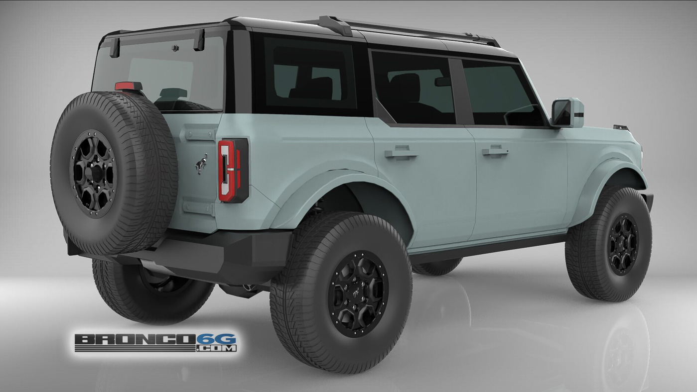 Cactus Gray Black Top Body Colored Fenders 4 Door 2021 Bronco 3D Model Rear.jpg