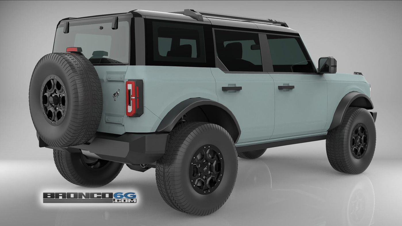 Cactus Gray Black Top Flat Satin Paint 4 Door 2021 Bronco 3D Model Rear.jpg