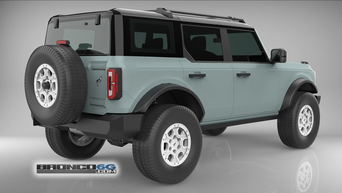 Cactus Gray White Grille Rims 4 Door 2021 Bronco 3D Model Rear.jpg
