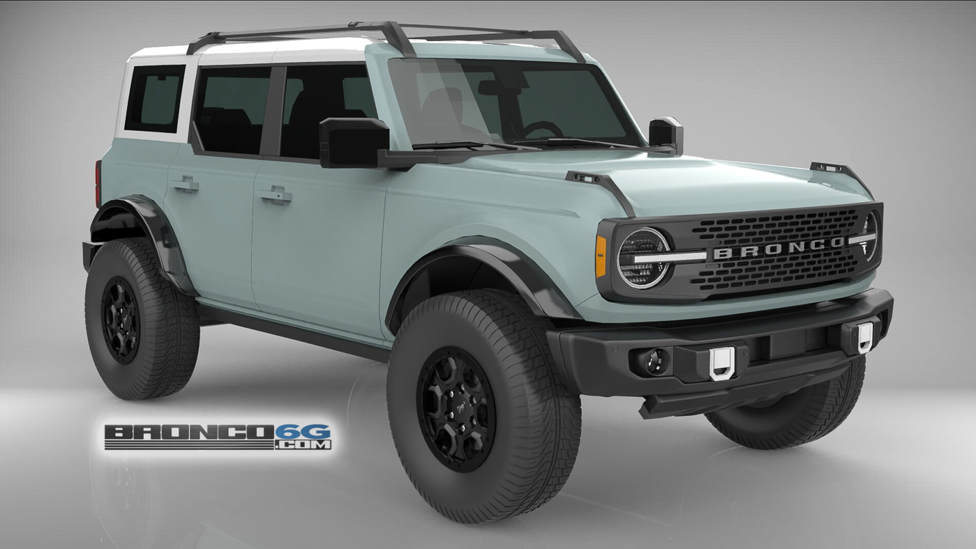 Cactus Gray White Top 4 Door 2021 Bronco 3D Model Front.jpg