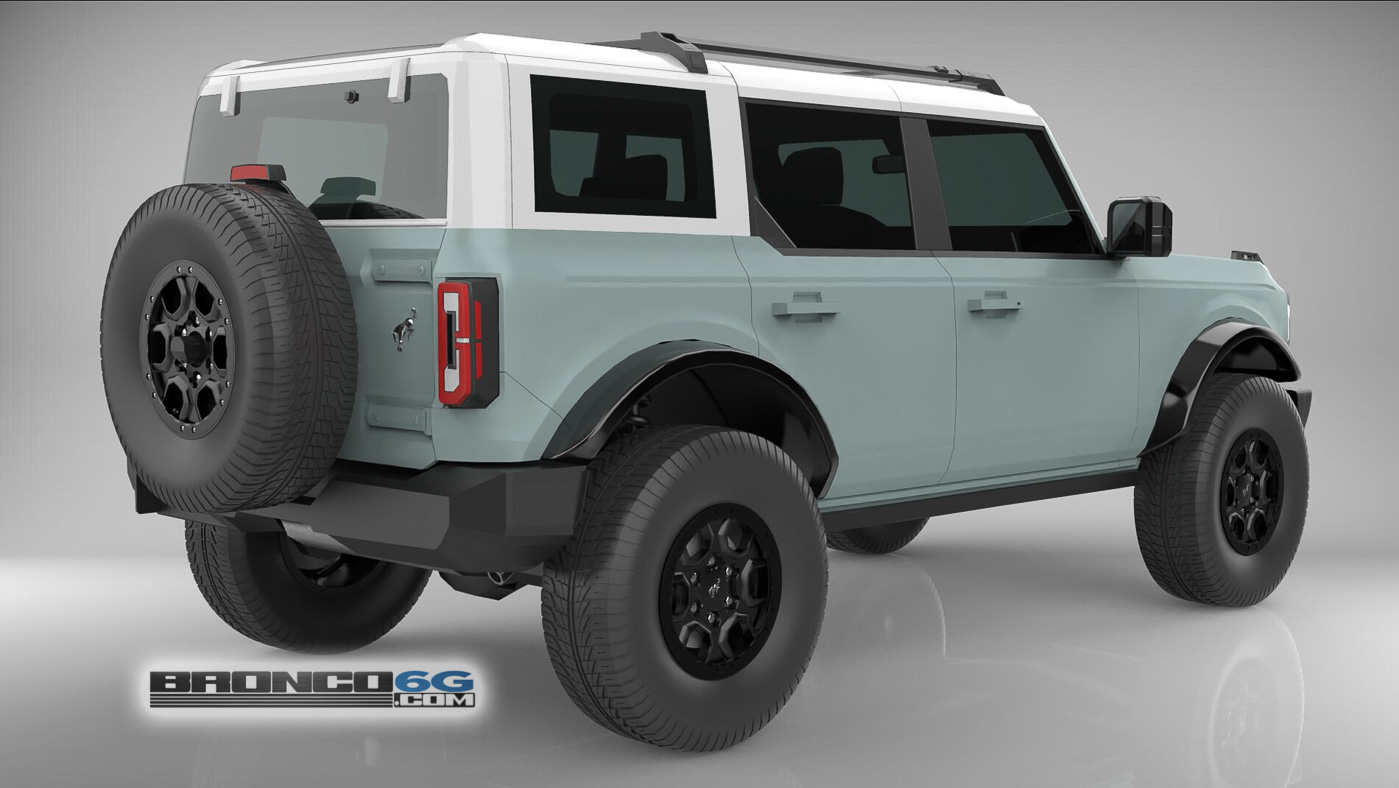 Cactus Gray White Top 4 Door 2021 Bronco 3D Model Rear.jpg