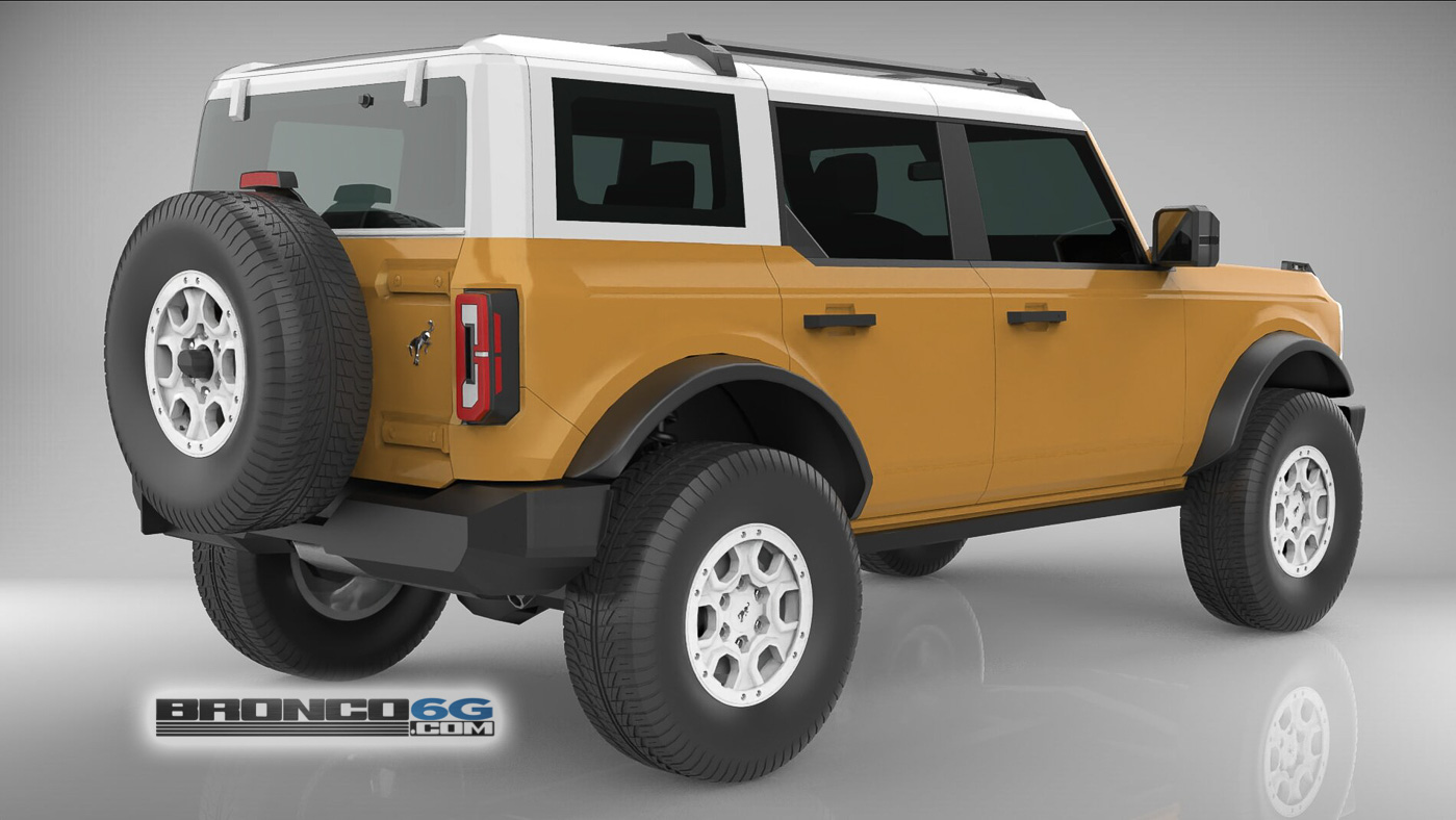 Caramel Bronze 4 Door 2021 Bronco 3D Model Rear.jpg
