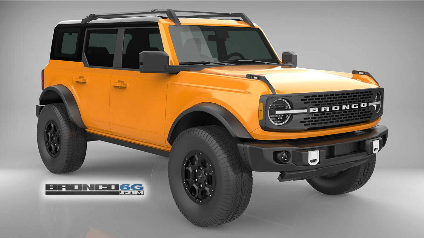 Cyber Orange 4 Door 2021 Bronco 3D Model Front.jpg