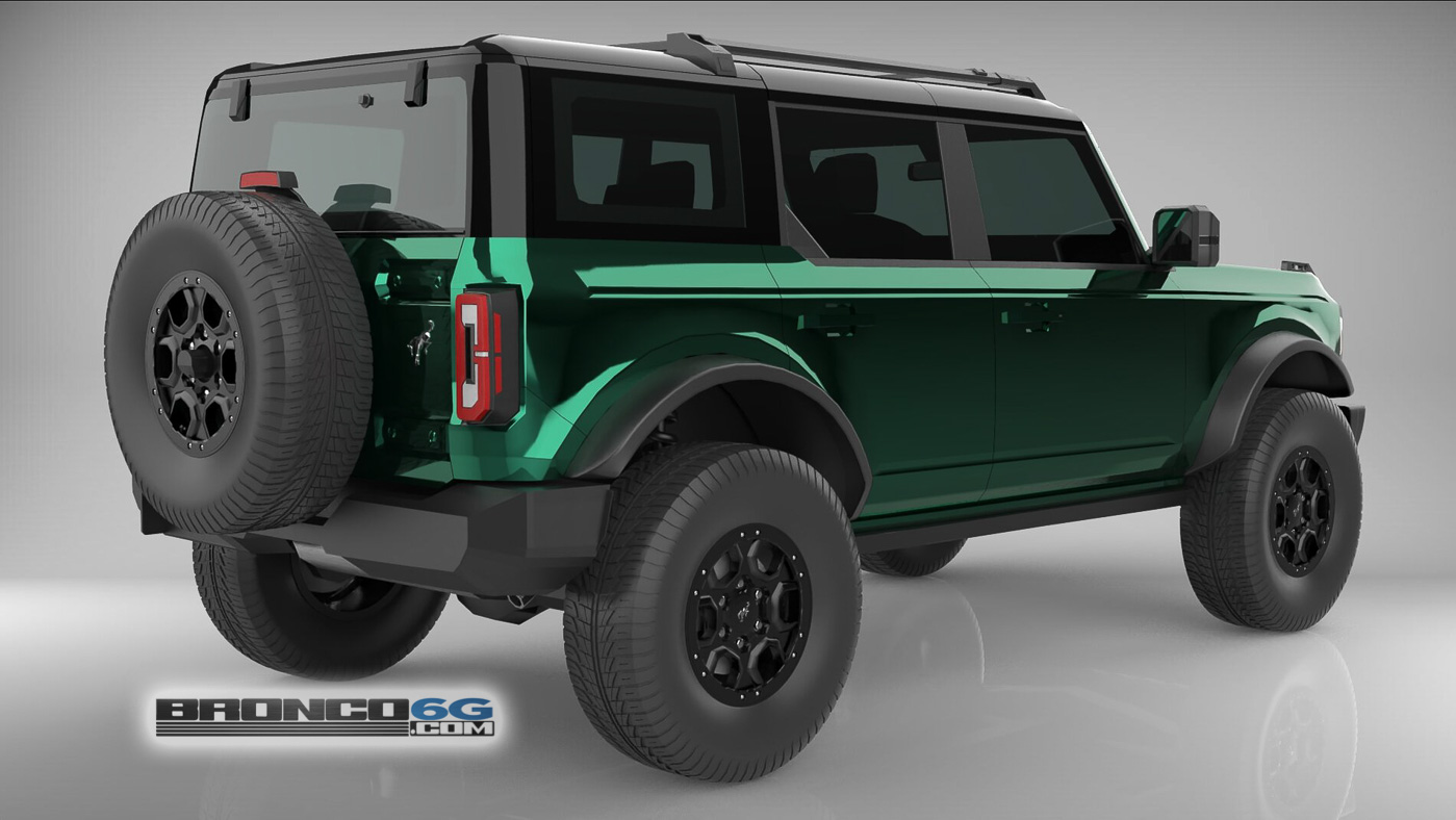 Forest Green 4 Door 2021 Bronco 3D Model Rear.jpg
