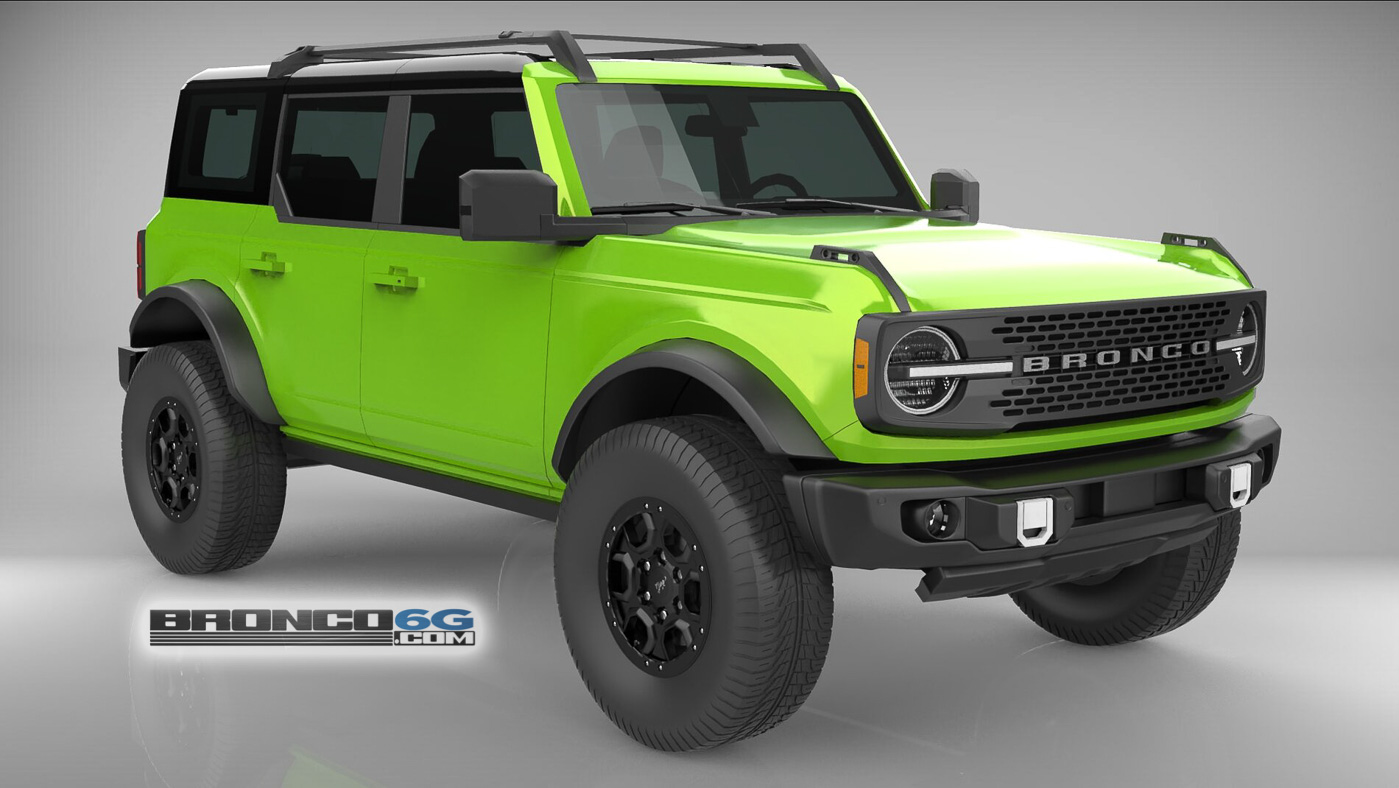 Grabber Lime Green 4 Door 2021 Bronco 3D Model Front.jpg