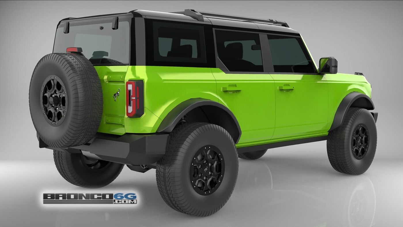 Grabber Lime Green 4 Door 2021 Bronco 3D Model Rear.jpg
