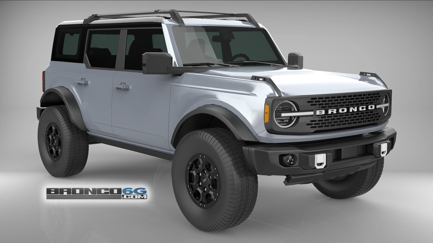 Iconic Silver 4 Door 2021 Bronco 3D Model Front.jpg