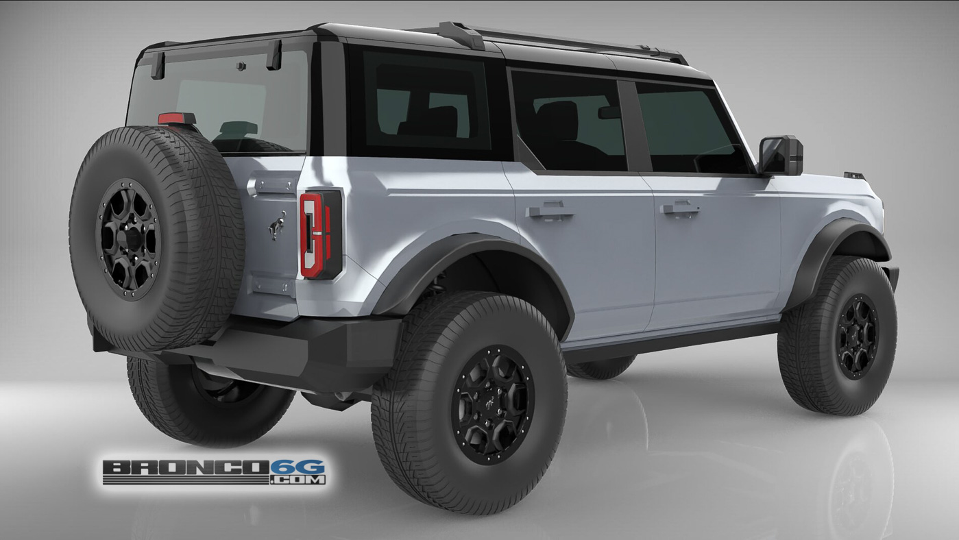 Iconic Silver 4 Door 2021 Bronco 3D Model Rear.jpg