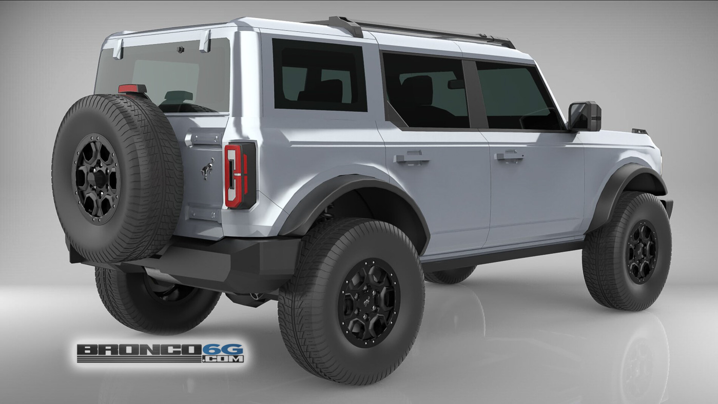 Iconic Silver 4 Door 2021 Bronco Painted Top 3D Model Rear.jpg