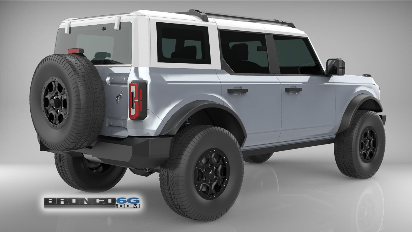 Iconic Silver White Top 4 Door 2021 Bronco 3D Model Rear.jpg