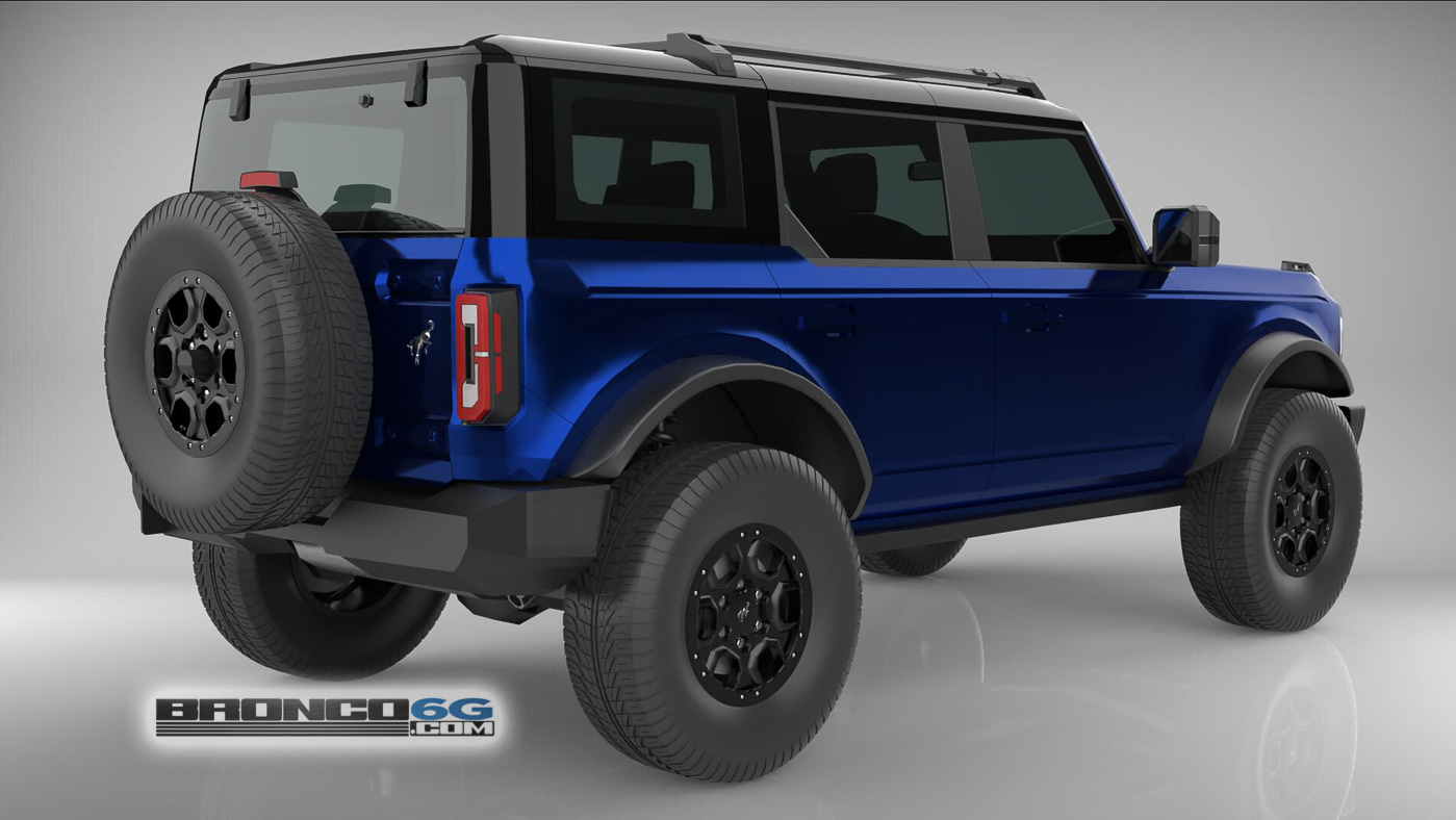 Kona Blue 4 Door 2021 Bronco 3D Model Rear.jpg
