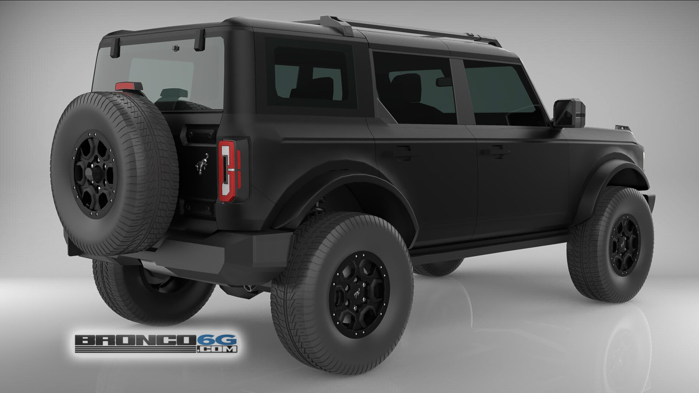 Matte Black 4 Door 2021 Bronco 3D Model Rear.jpg