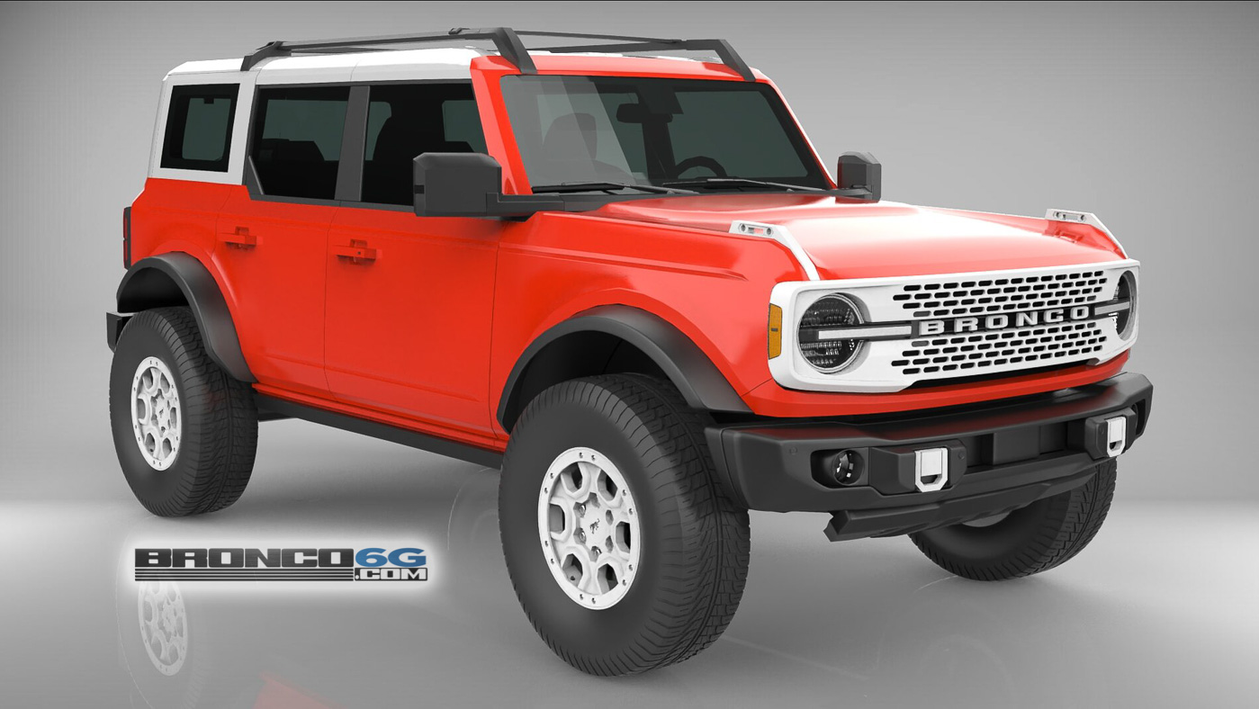Race Red 4 Door 2021 Bronco White Top Grille 3D Model Front.jpg