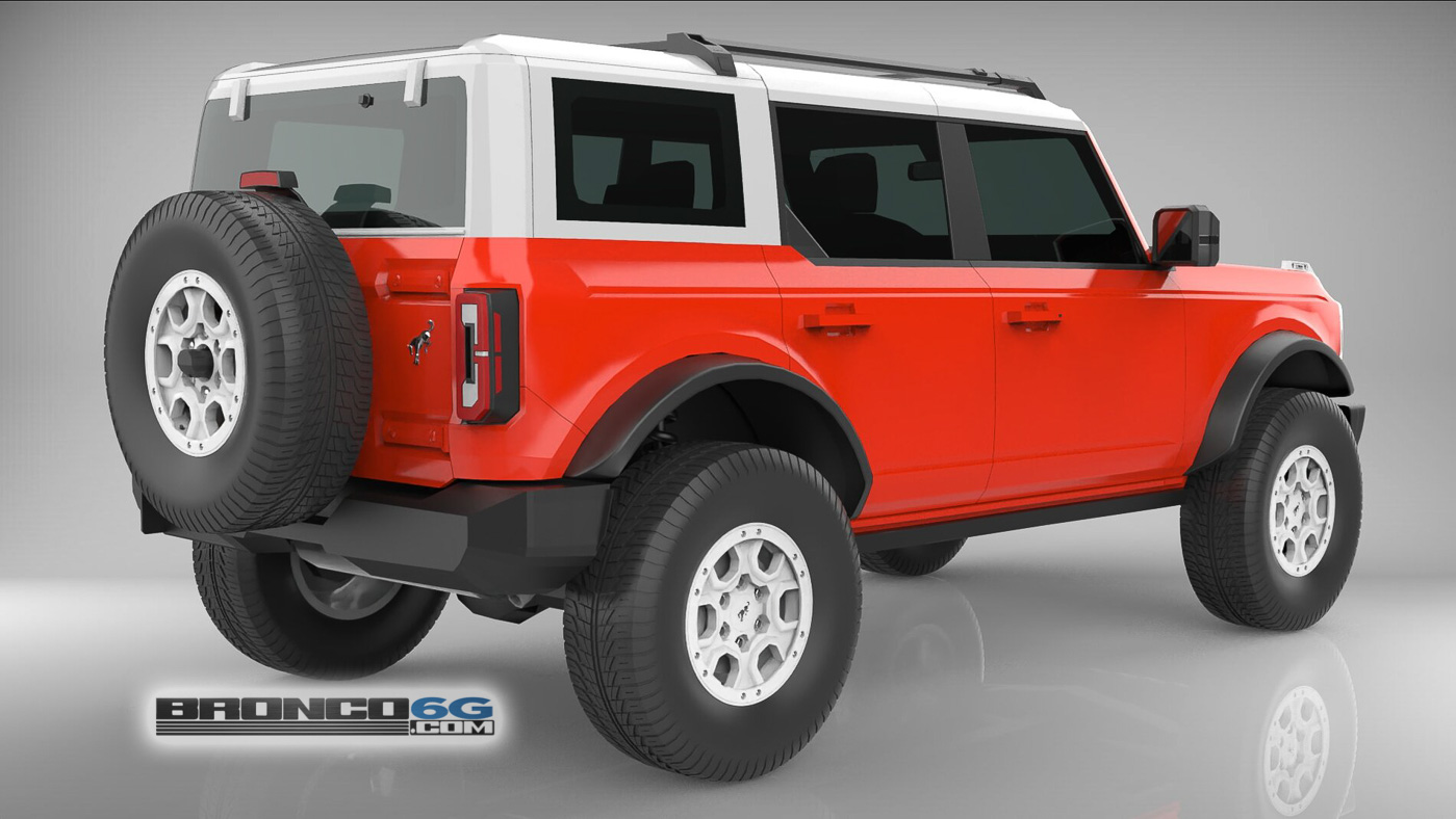 Race Red 4 Door 2021 Bronco White Top Grille 3D Model Rear.jpg