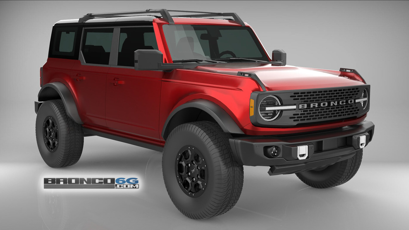 Rapid Red 4 Door 2021 Bronco 3D Model Front.jpg