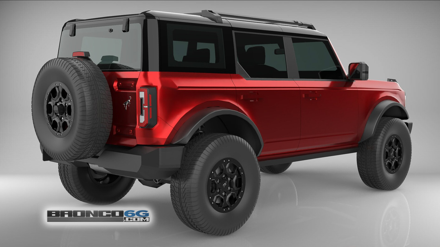 Rapid Red 4 Door 2021 Bronco 3D Model Rear.jpg