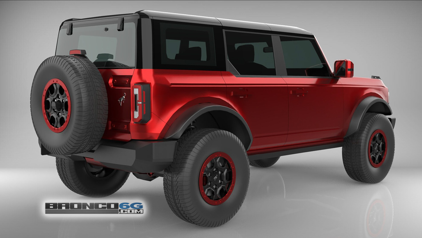 Rapid Red Black Top Red Emblem 4 Door 2021 Bronco 3D Model Rear.jpg