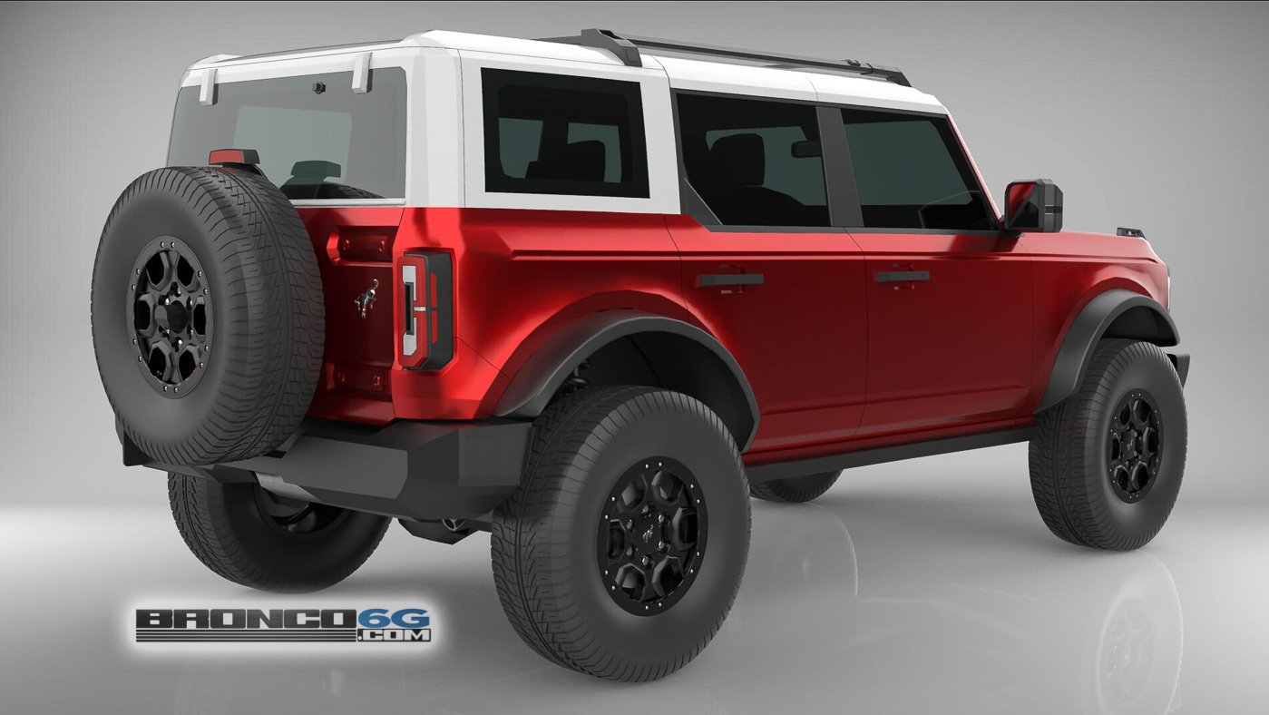 Rapid Red White Top 4 Door 2021 Bronco 3D Model Rear.jpg