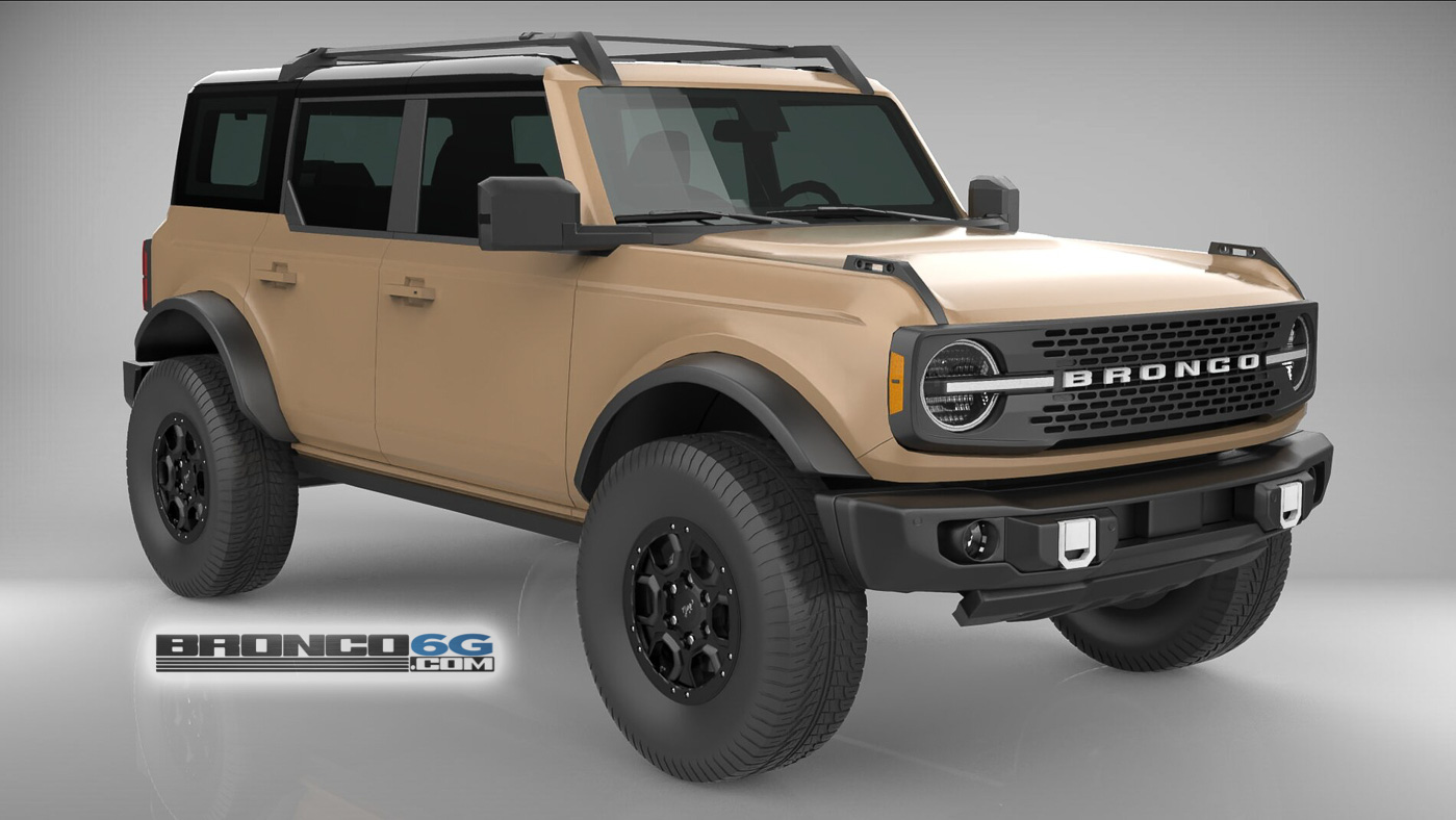 Sand Tan 4 Door 2021 Bronco3D Model Front.jpg