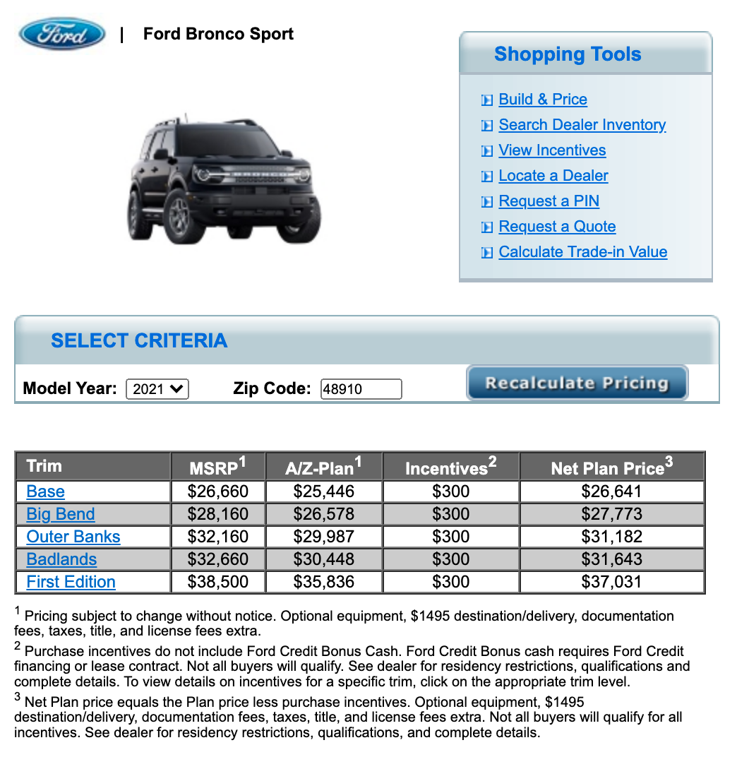 Bronco Sport Now Showing On A Z Plan Pricing Site 2021 Ford