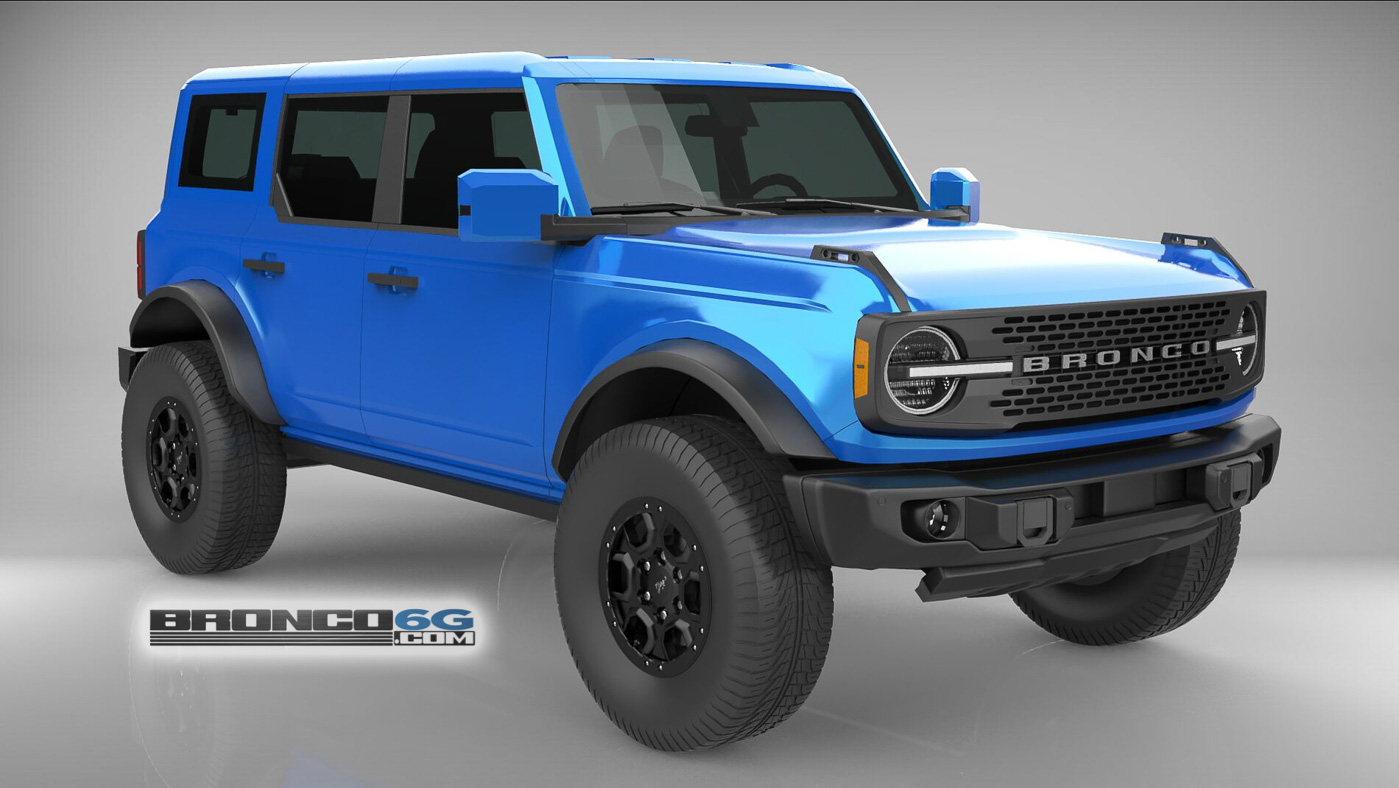 Velocity Blue Body Colored Top Fenders Mirrors 4 Door 2021 Bronco 3D Model Front.jpg