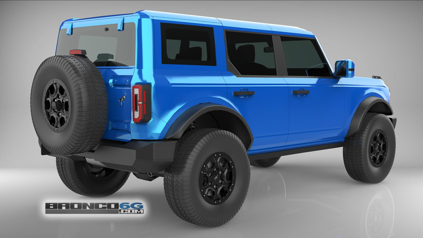 Velocity Blue Body Colored Top Fenders Mirrors 4 Door 2021 Bronco 3D Model Rear.jpg