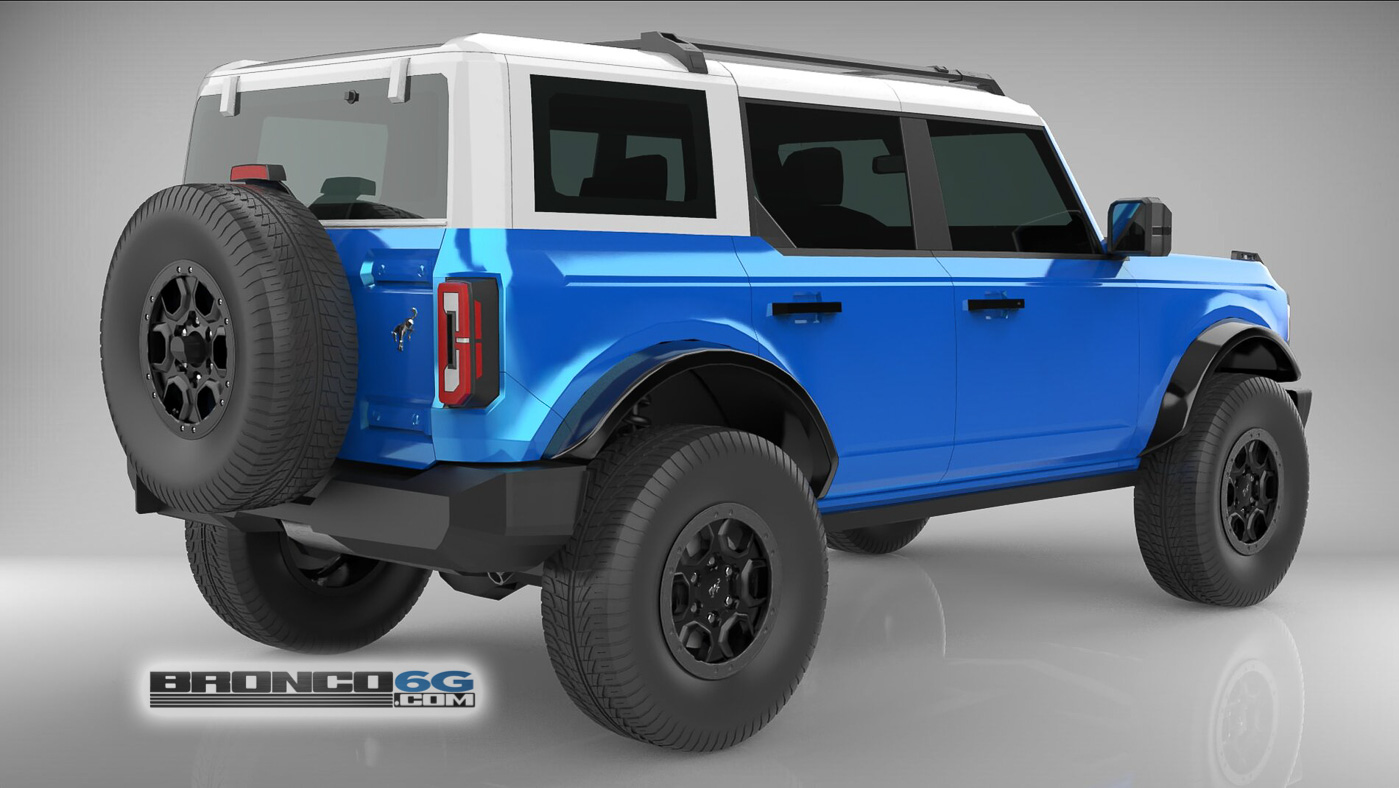 Velocity Blue White Top 4 Door 2021 Bronco 3D Model Rear.jpg