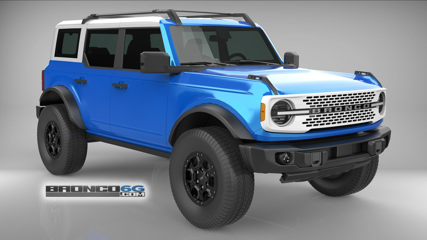 Velocity Blue White Top Grille 4 Door 2021 Bronco 3D Model Front.jpg